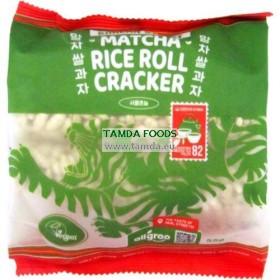 korejský rýžový cracker s příchutí matcha